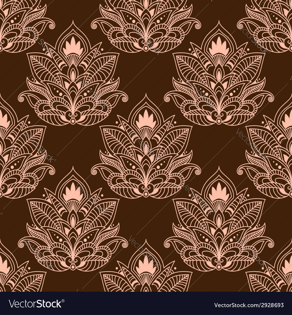 Brown persian paisley seamless floral pattern vector | Price: 1 Credit (USD $1)
