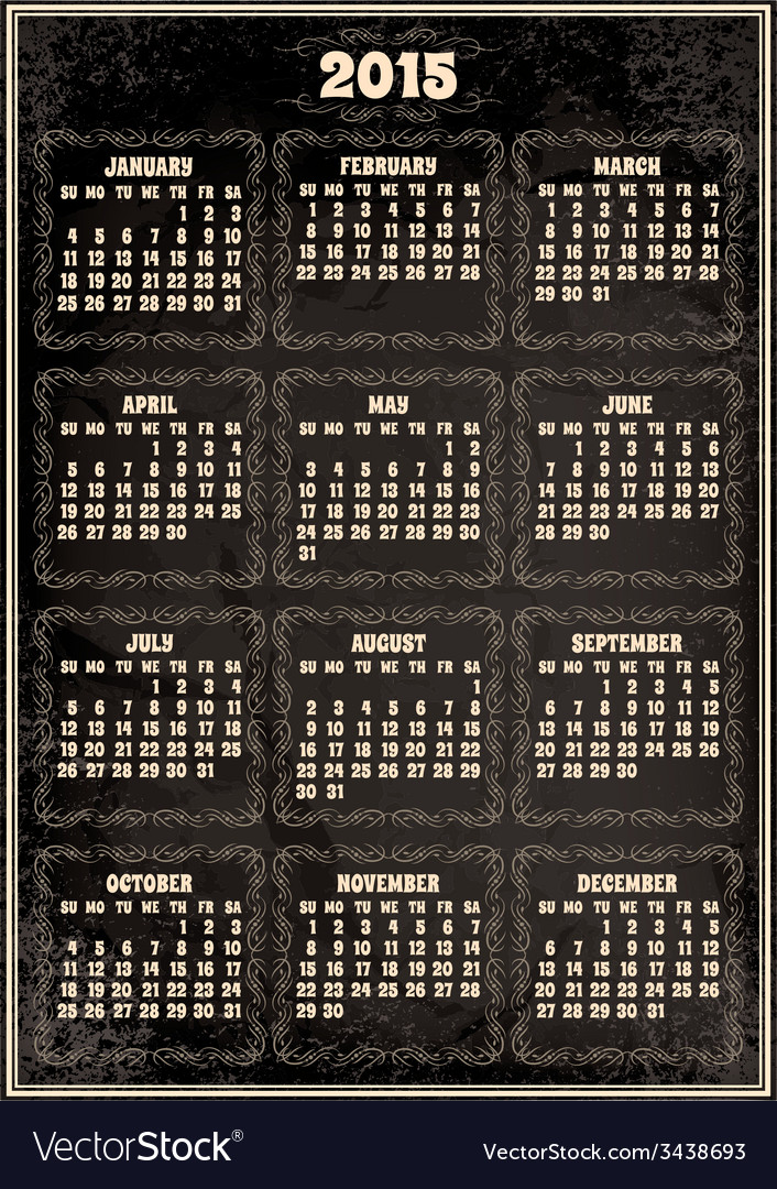 Calendar template for 2015 in retro style vector | Price: 1 Credit (USD $1)
