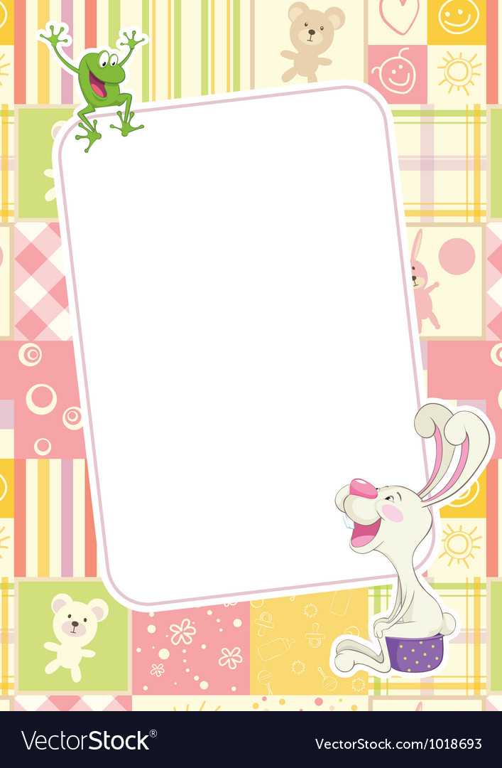 Girls childrens frame with rabbit and frog vector