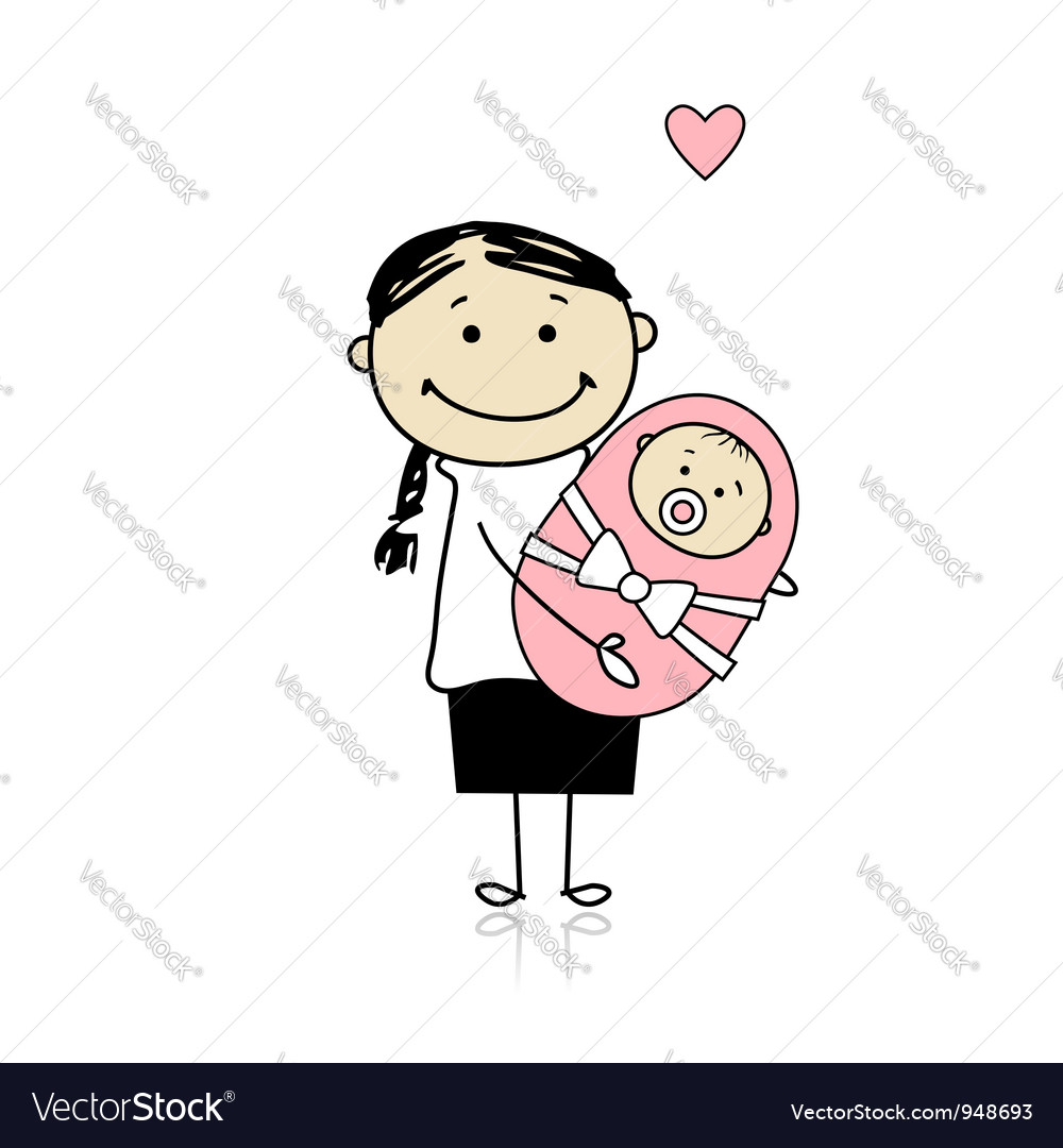 Happy mother smiling with newborn baby vector | Price: 1 Credit (USD $1)
