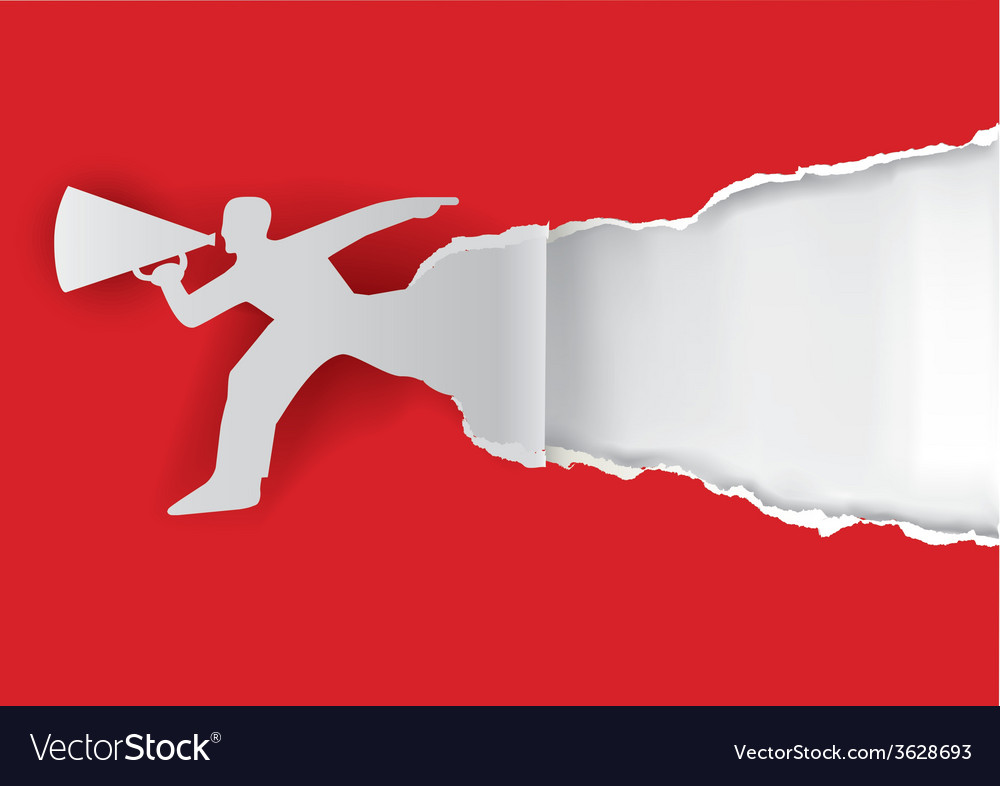 Man with megaphone ripping paper vector | Price: 1 Credit (USD $1)