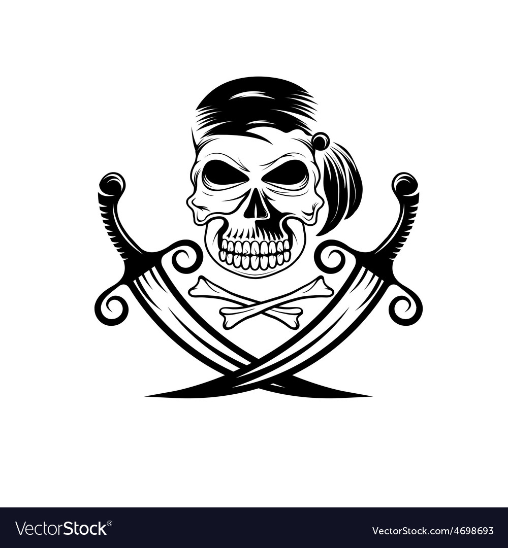 Pirate skull with swords and bones vector | Price: 1 Credit (USD $1)