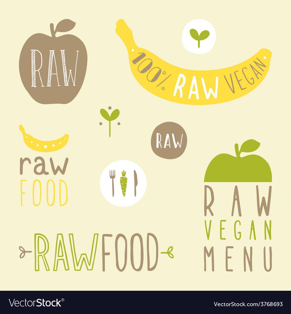Raw vegan labels vector | Price: 1 Credit (USD $1)