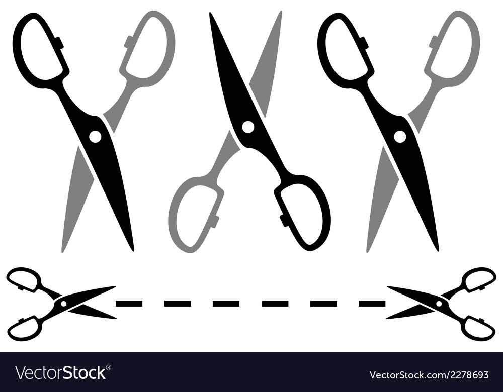 Set metal scissors on white background with dotted vector | Price: 1 Credit (USD $1)