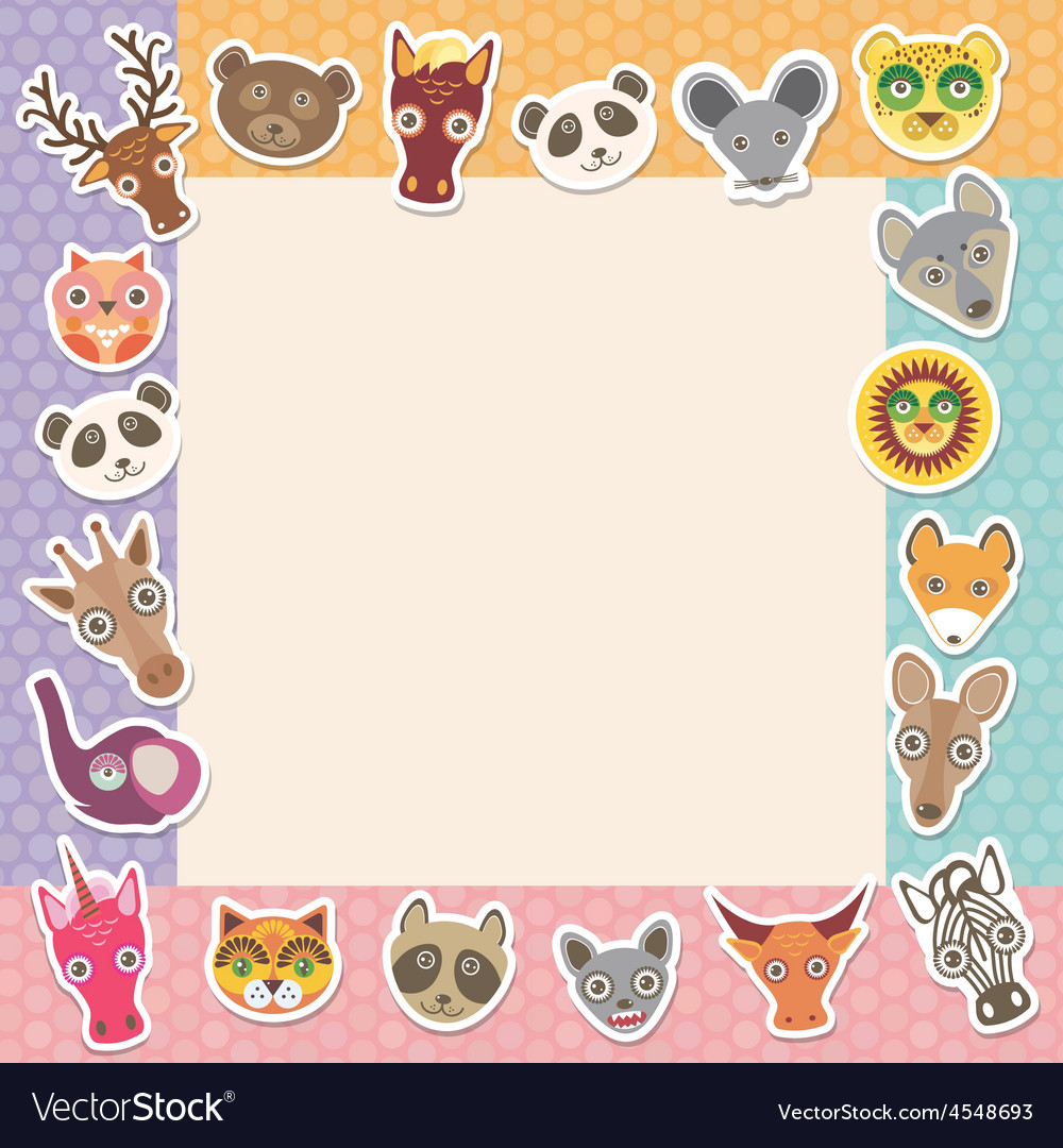 Set of funny animals muzzle square frame template vector | Price: 1 Credit (USD $1)