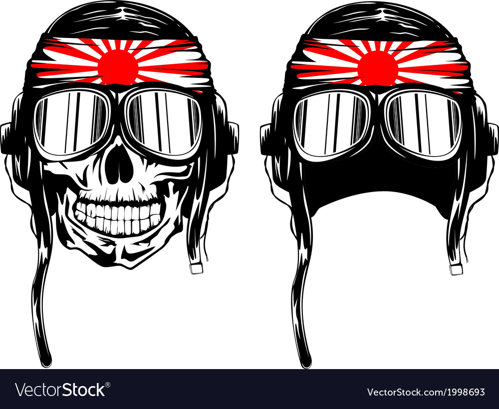 Skull in pilots helmet and band vector | Price: 1 Credit (USD $1)