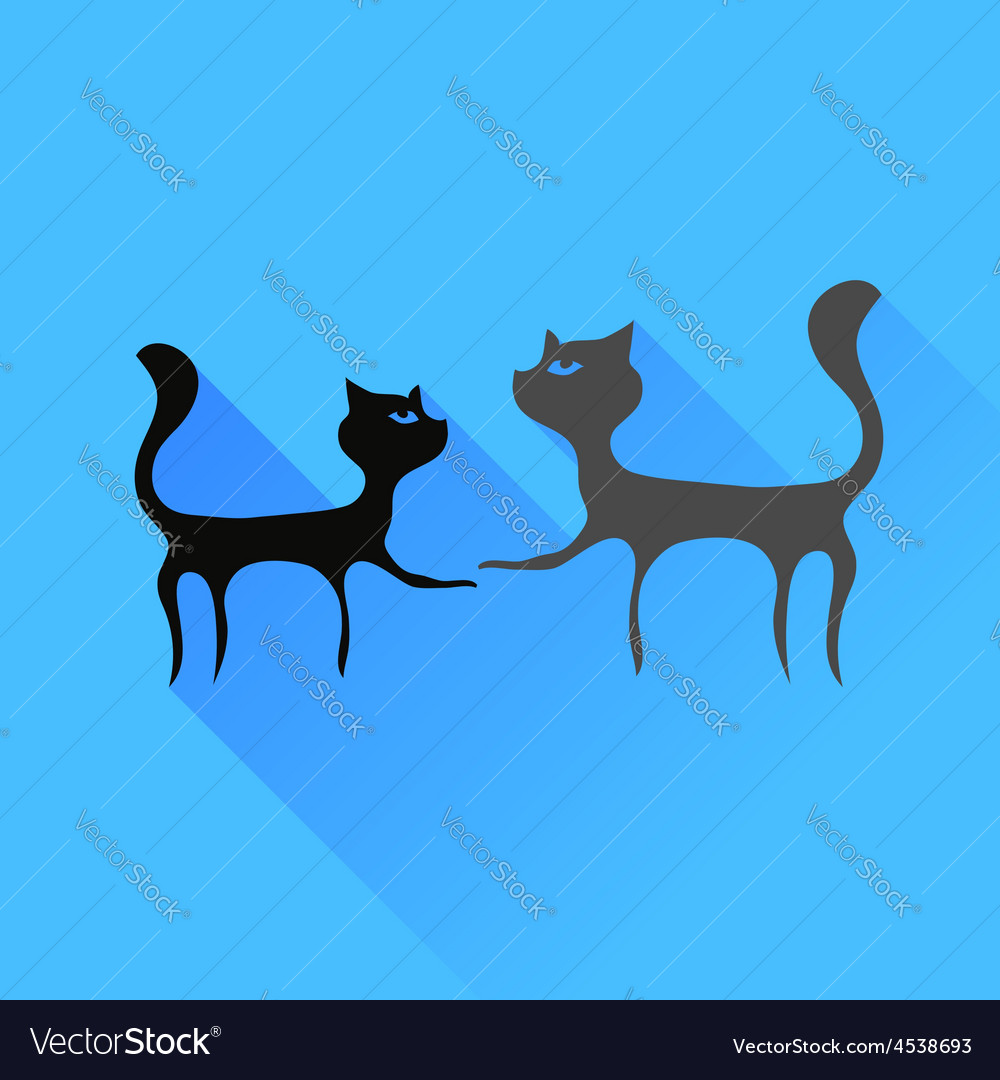 Two cats silhouettes vector | Price: 1 Credit (USD $1)