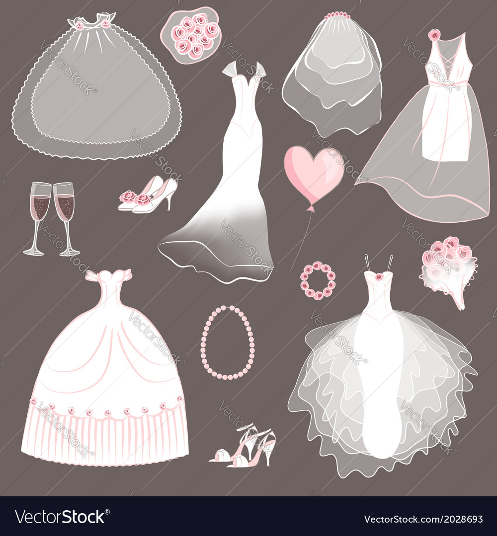 Wedding dresses set vector | Price: 1 Credit (USD $1)