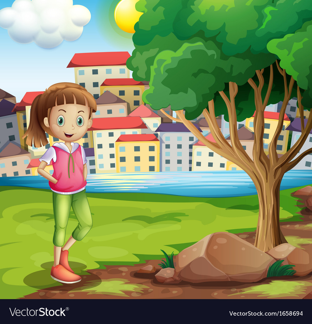A young girl at the riverbank near the tree vector | Price: 3 Credit (USD $3)
