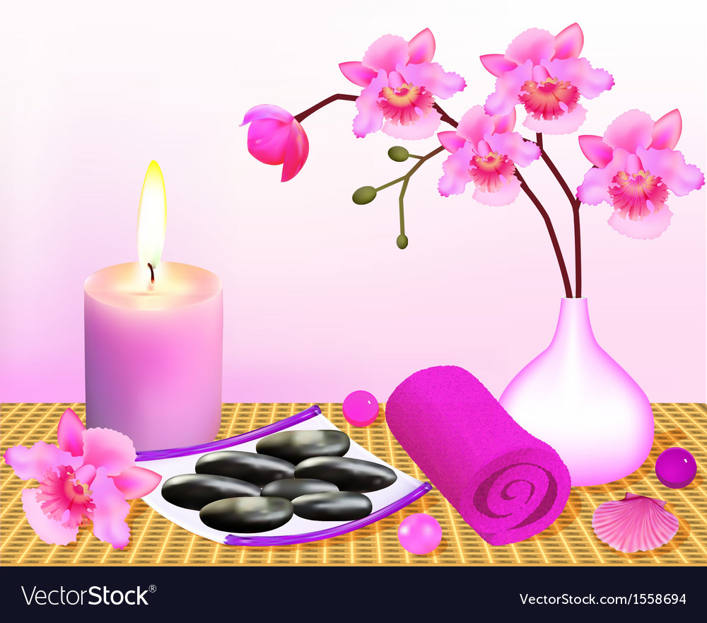 Background for spa with orchid vector | Price: 1 Credit (USD $1)