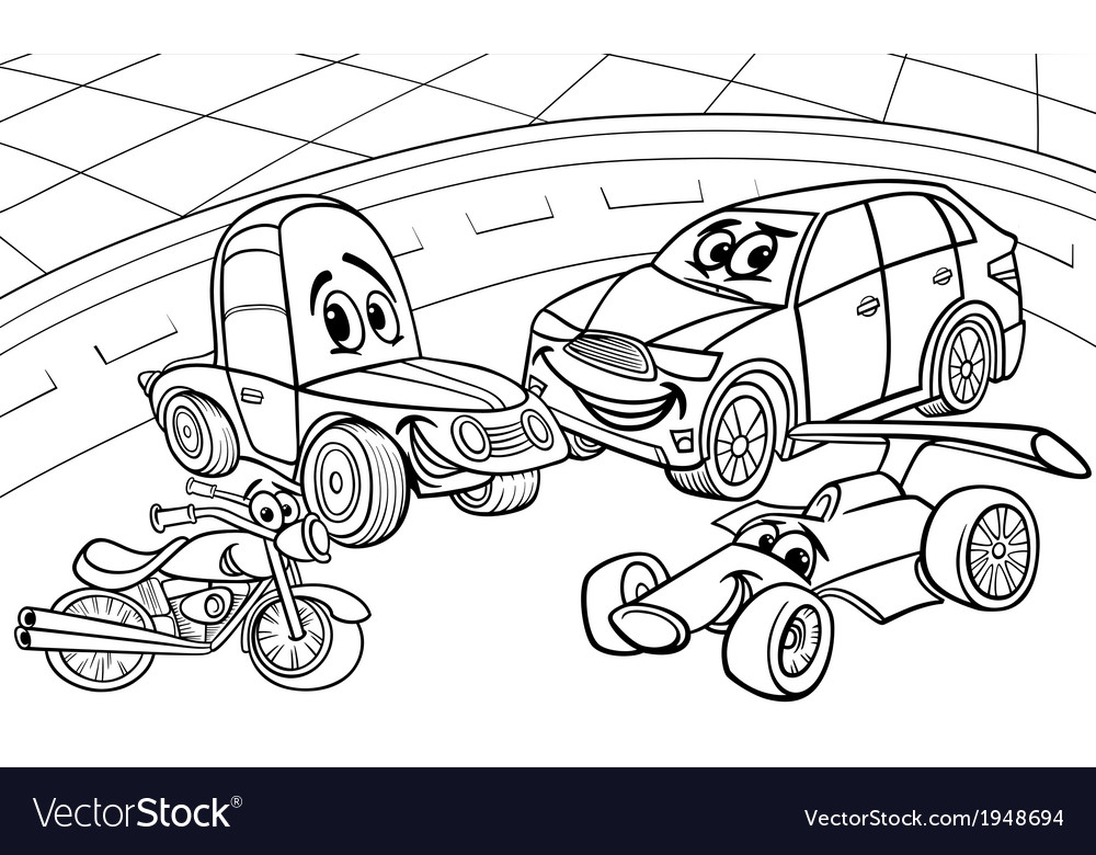 Cars vehicles cartoon coloring page vector | Price: 1 Credit (USD $1)