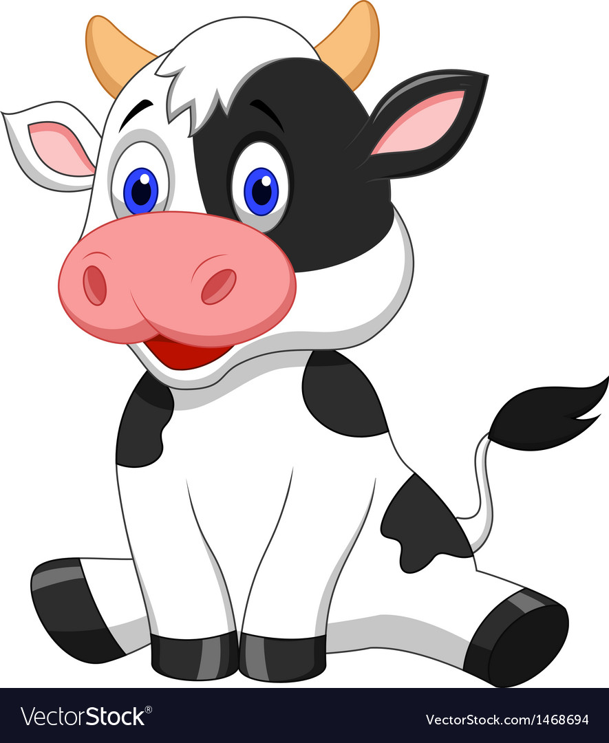 Cute cow cartoon sitting vector | Price: 1 Credit (USD $1)