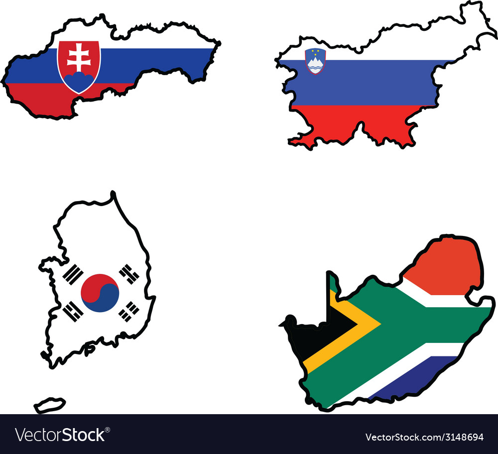 Flag in map of slovakiasloveniasouth africasouth k vector | Price: 1 Credit (USD $1)
