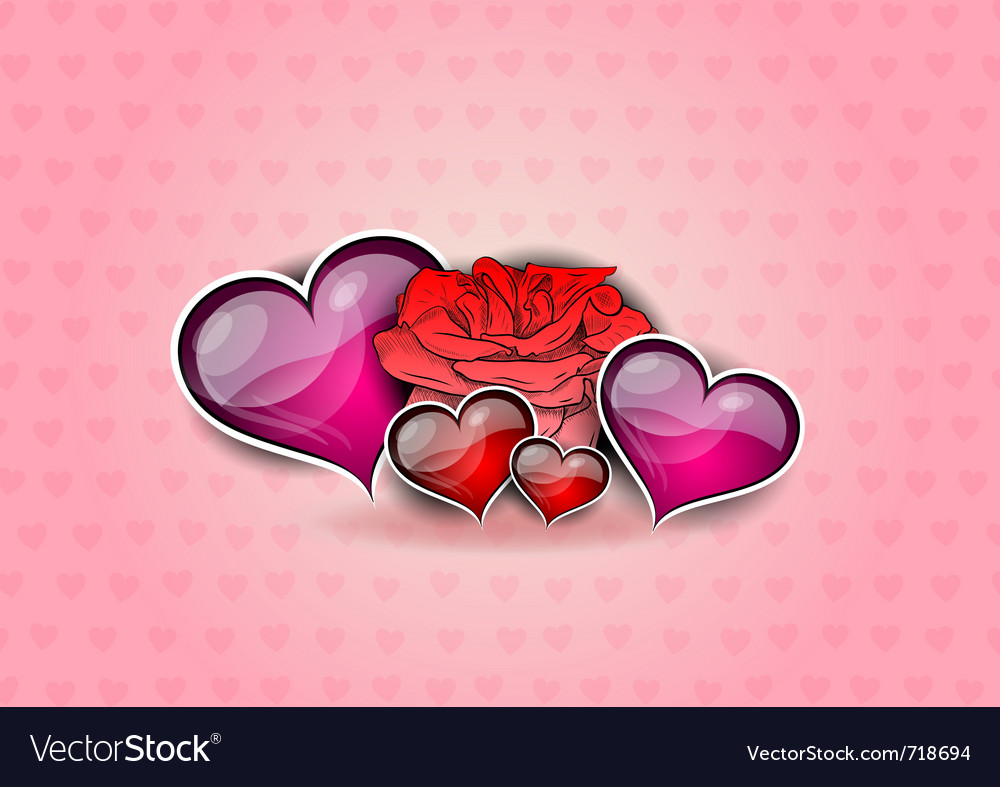 Flower and hearts on the background vector | Price: 1 Credit (USD $1)