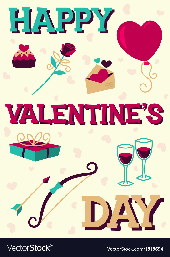 Happy valentines day card vector | Price: 1 Credit (USD $1)