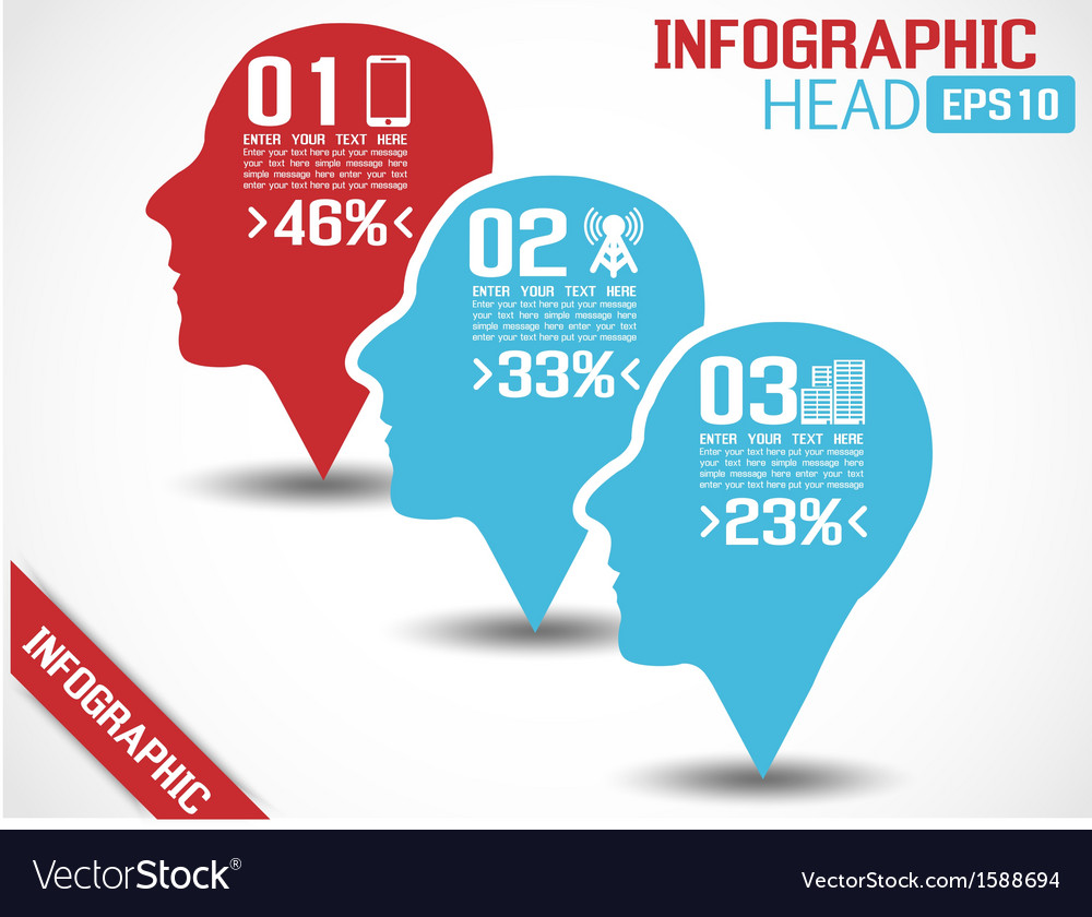 Infographic head red vector | Price: 1 Credit (USD $1)