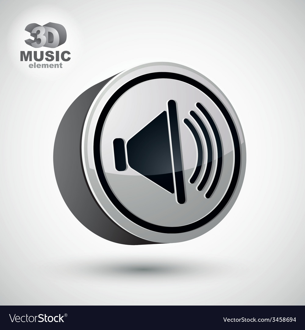 Loudspeaker icon 3d design element vector | Price: 1 Credit (USD $1)