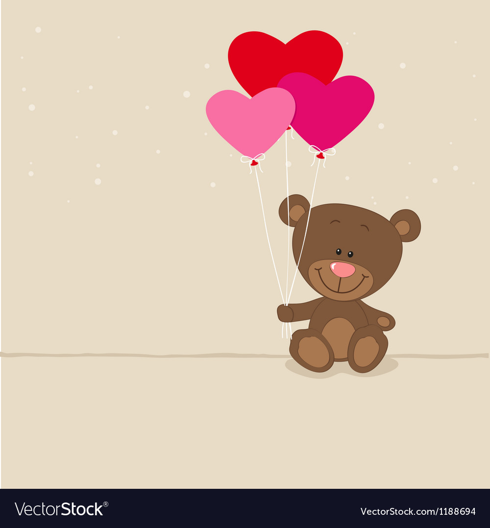 Love bear with balloons vector | Price: 3 Credit (USD $3)