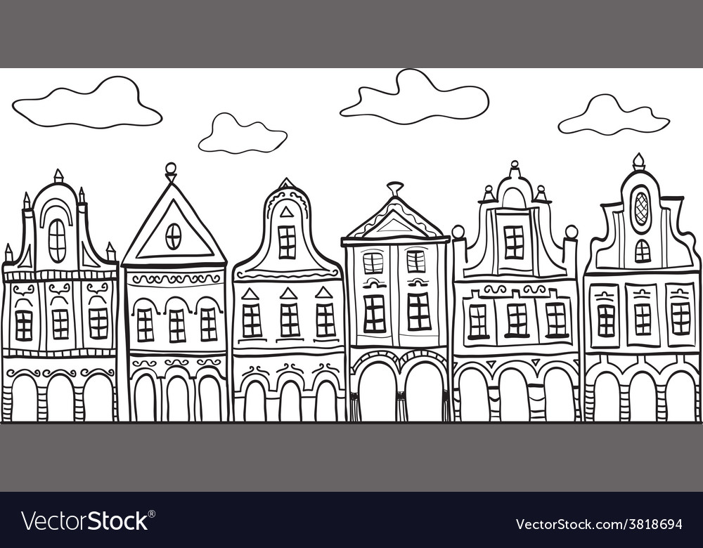 Old decorated village houses vector | Price: 1 Credit (USD $1)
