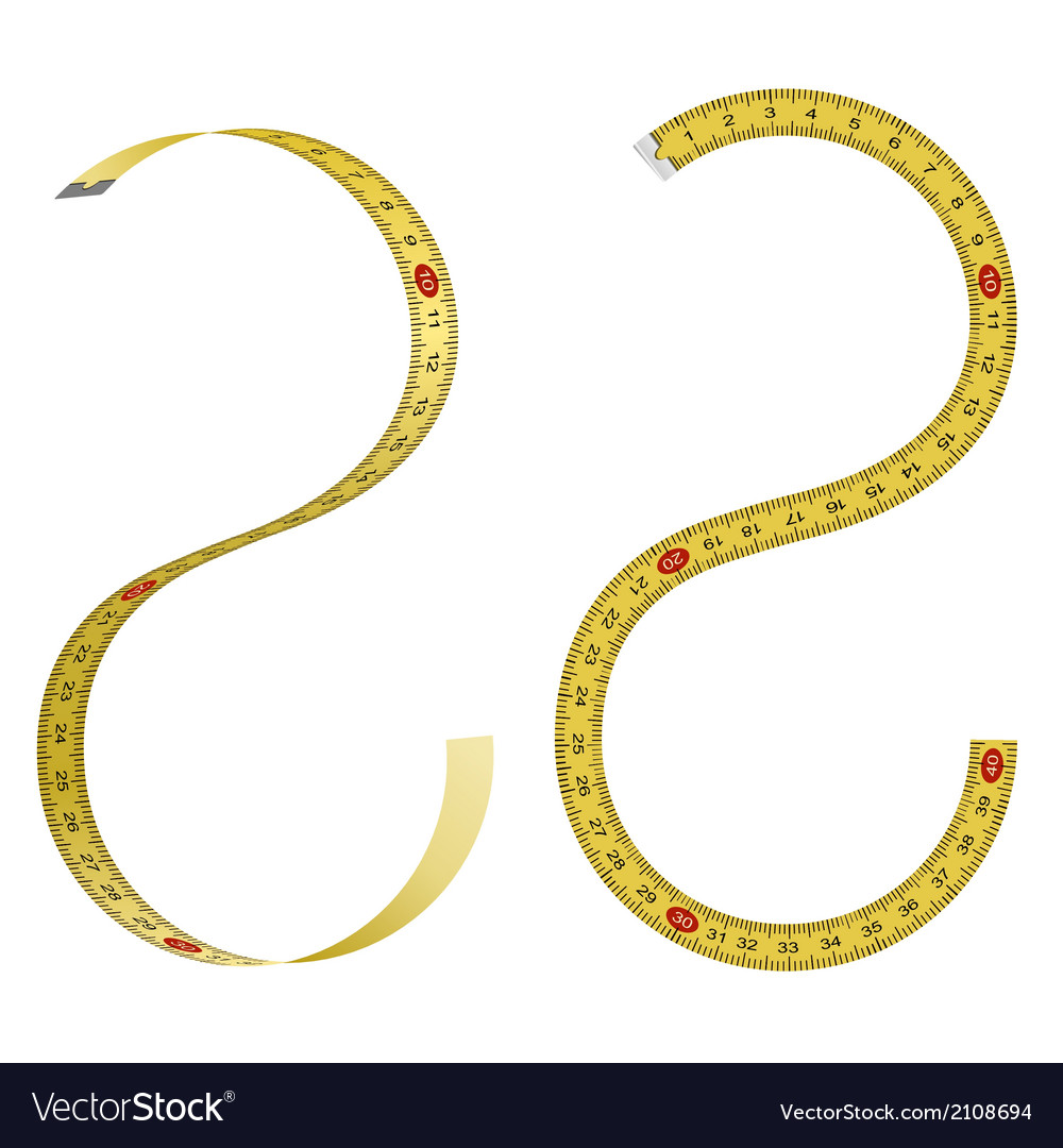 Set of curved measuring tapes on white background vector | Price: 1 Credit (USD $1)