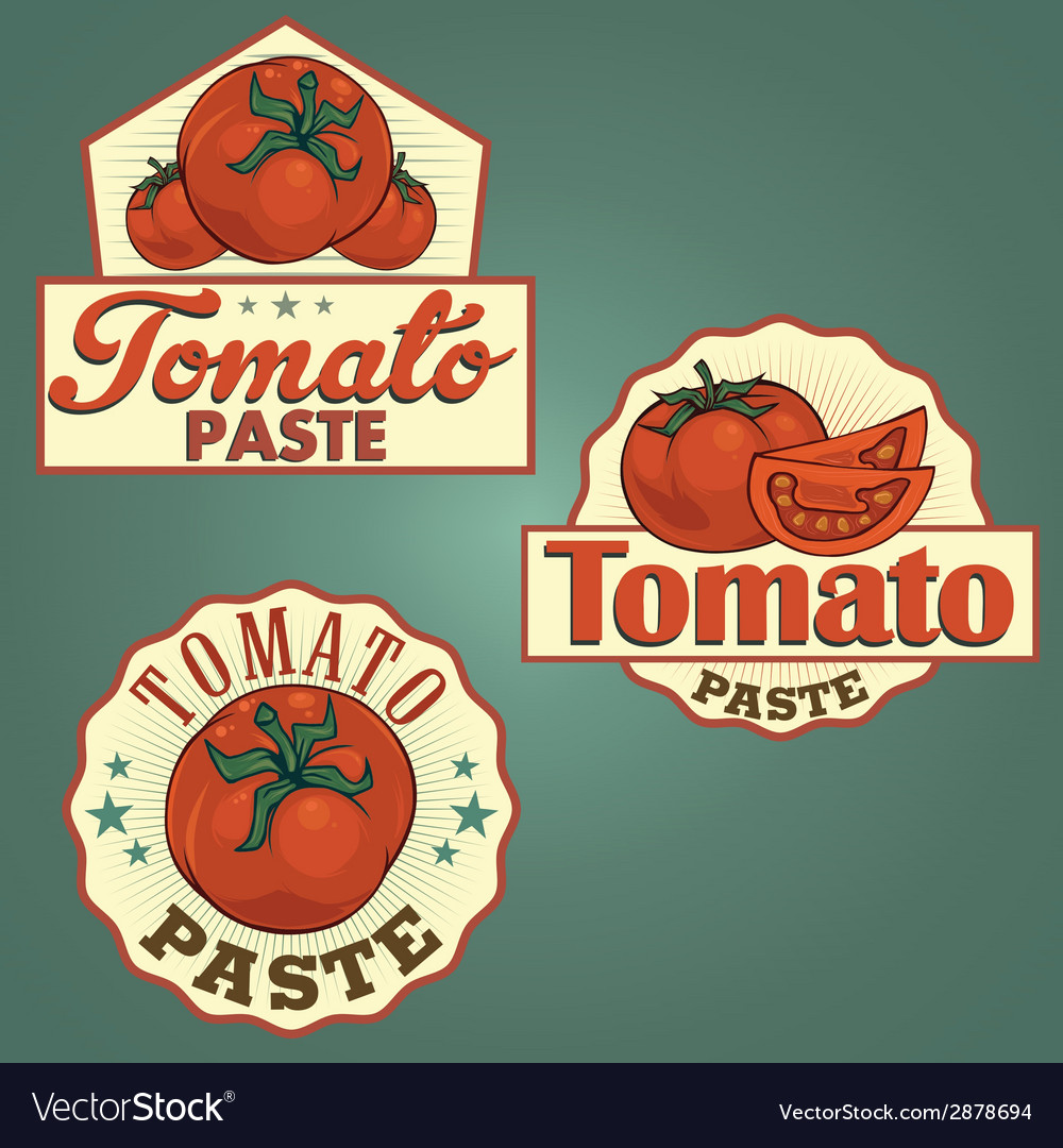 Tomato paste labels set vector | Price: 1 Credit (USD $1)