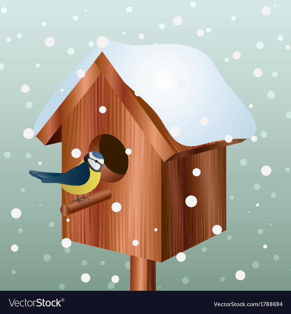 Winter bird house with little bird vector | Price: 1 Credit (USD $1)