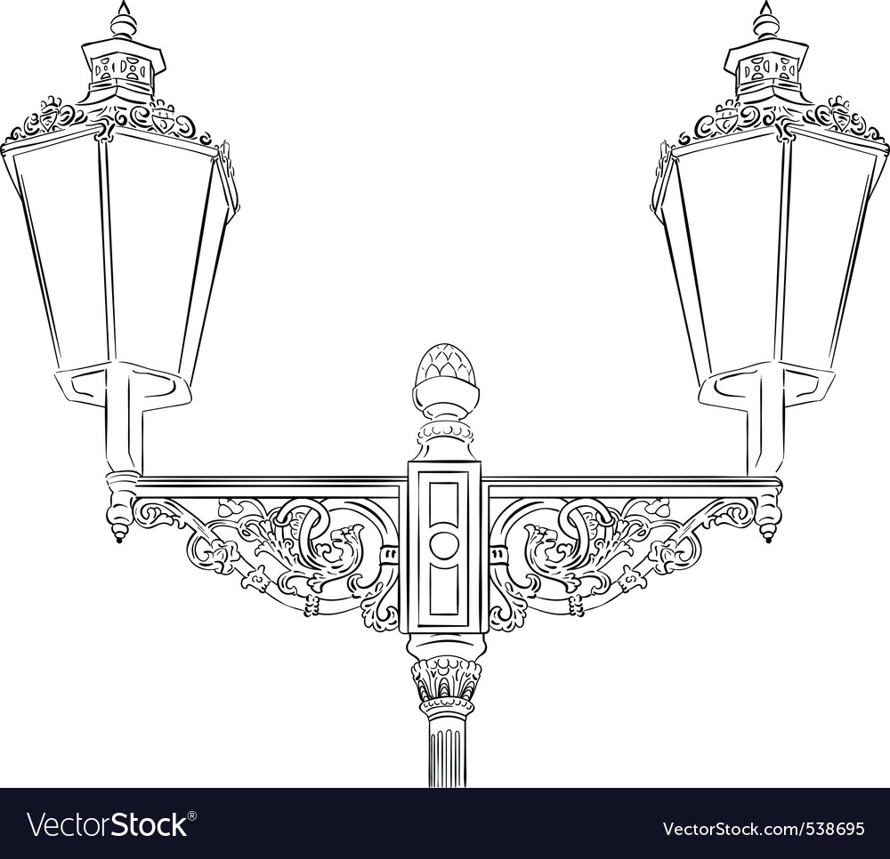 Baroque lamp isolated on the white vector | Price: 1 Credit (USD $1)