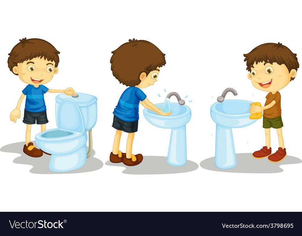 Boy and toilet vector | Price: 1 Credit (USD $1)