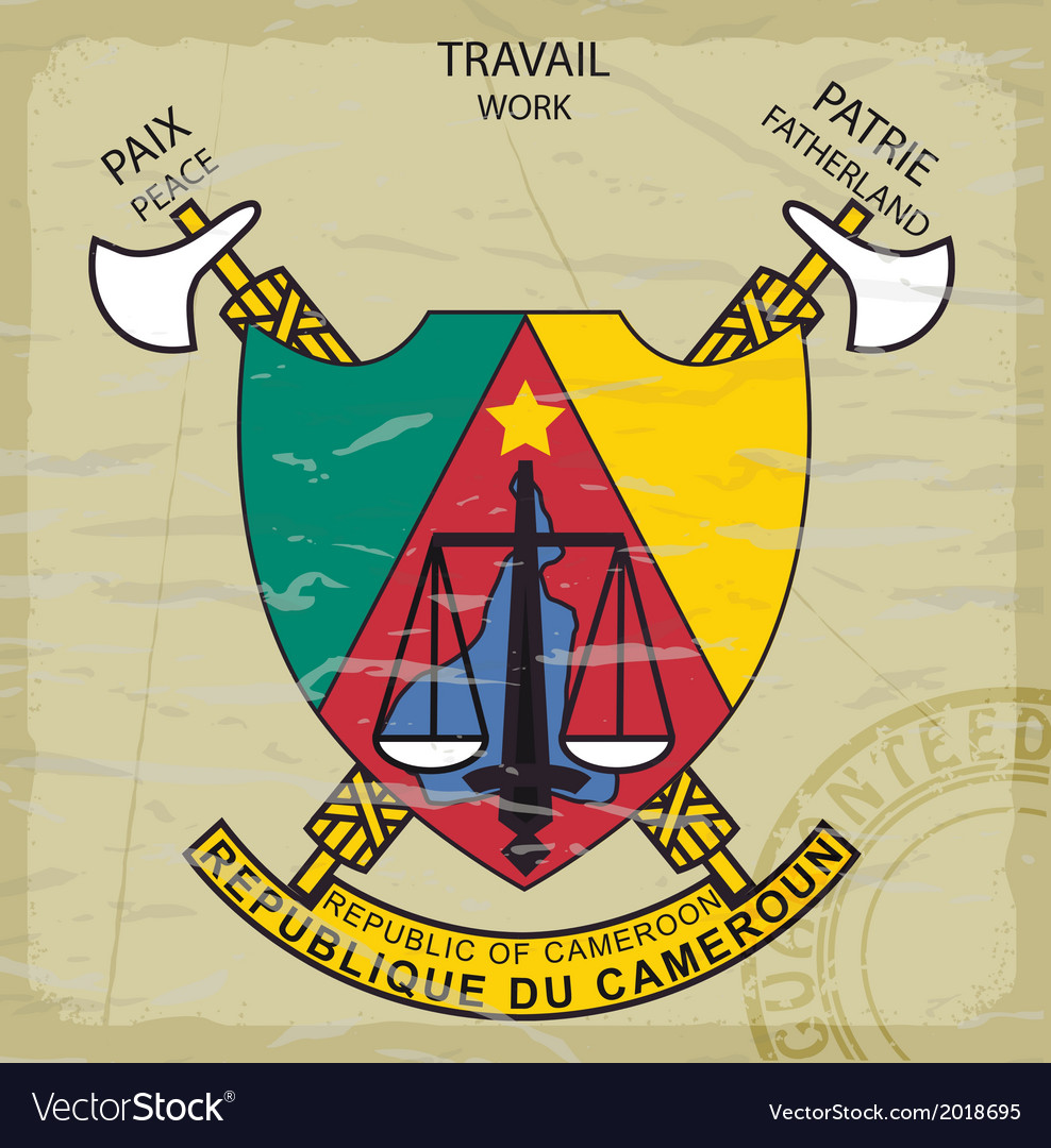 Coat of arms of cameroon on the old postage stamp vector | Price: 1 Credit (USD $1)