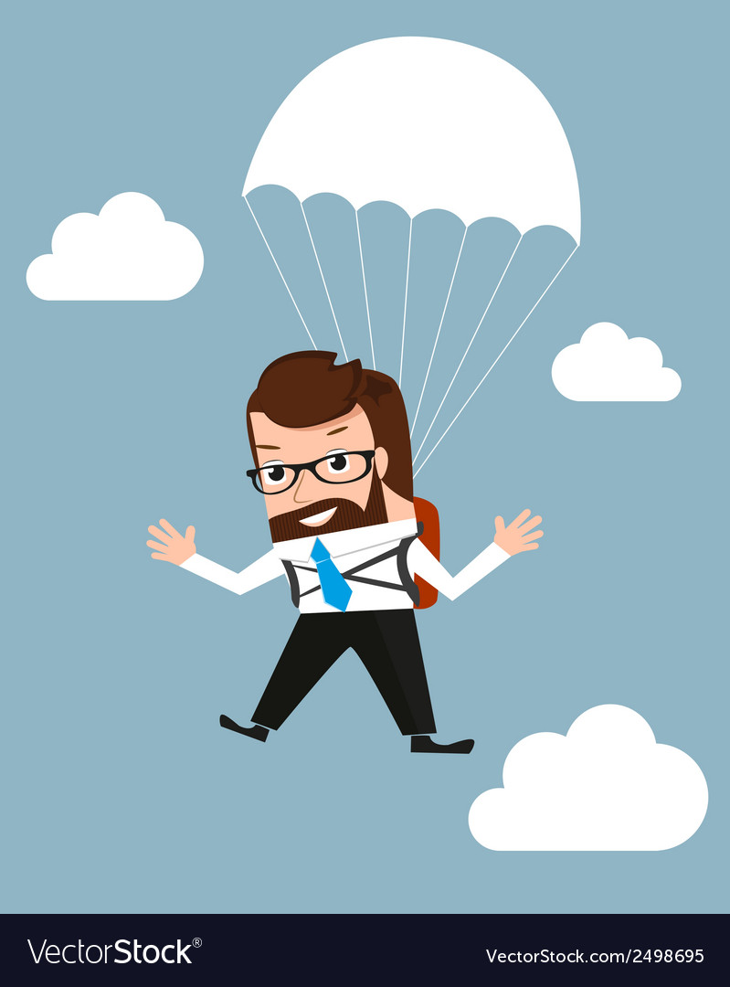 Lucky businessman is flying with parachute vector | Price: 1 Credit (USD $1)