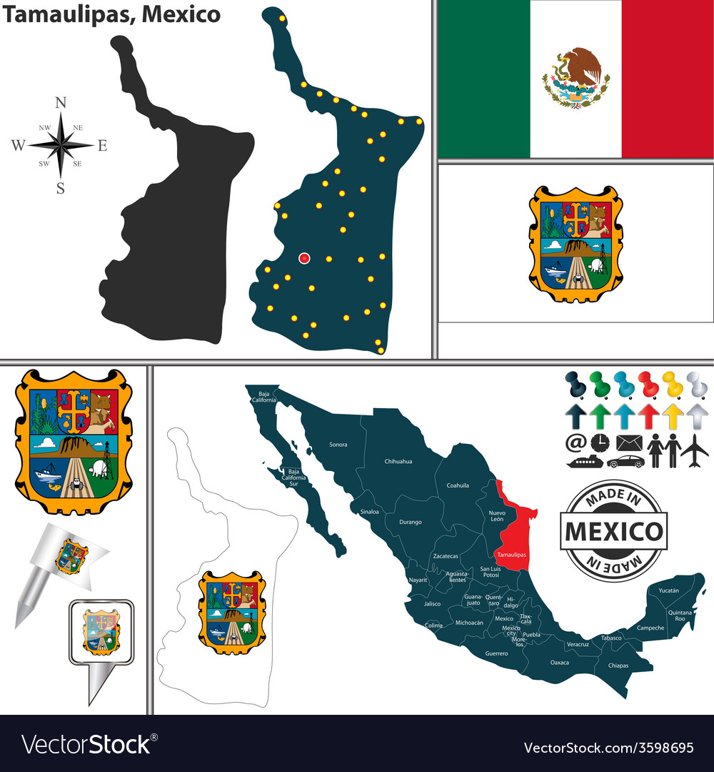 Map of tamaulipas vector | Price: 1 Credit (USD $1)