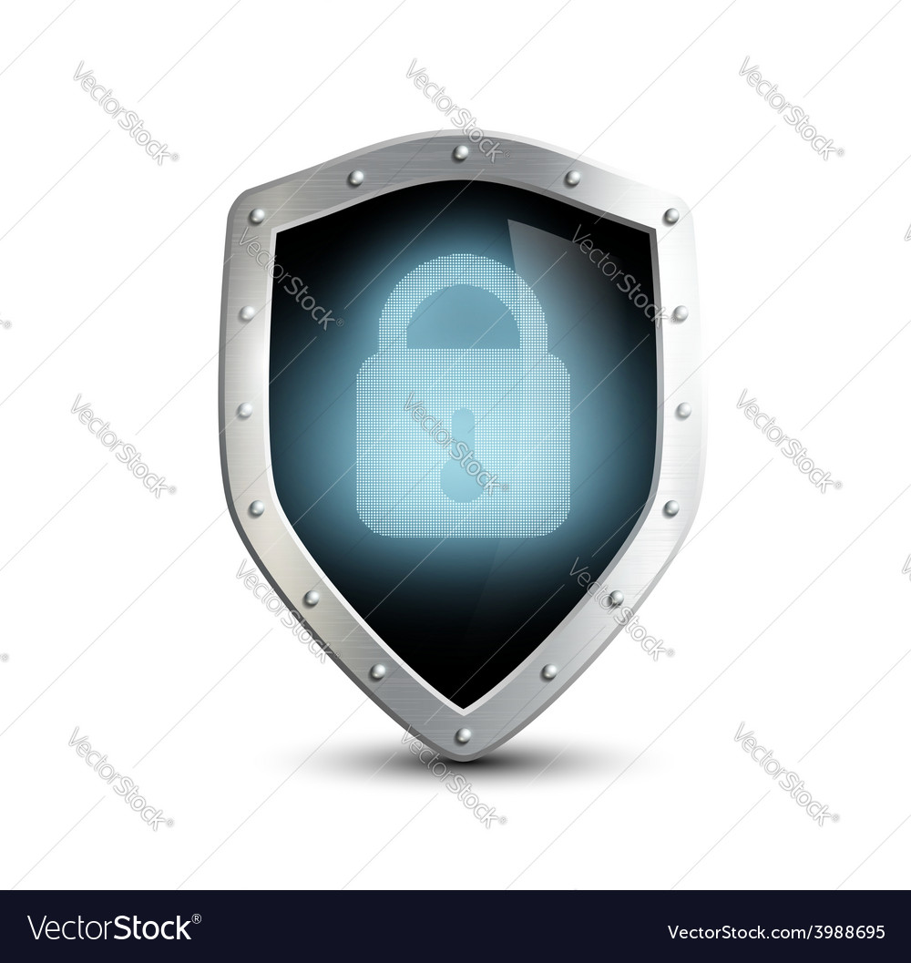 Metal shield with blue lock vector | Price: 1 Credit (USD $1)