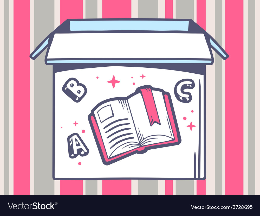 Open box with icon of open book on pink vector | Price: 1 Credit (USD $1)