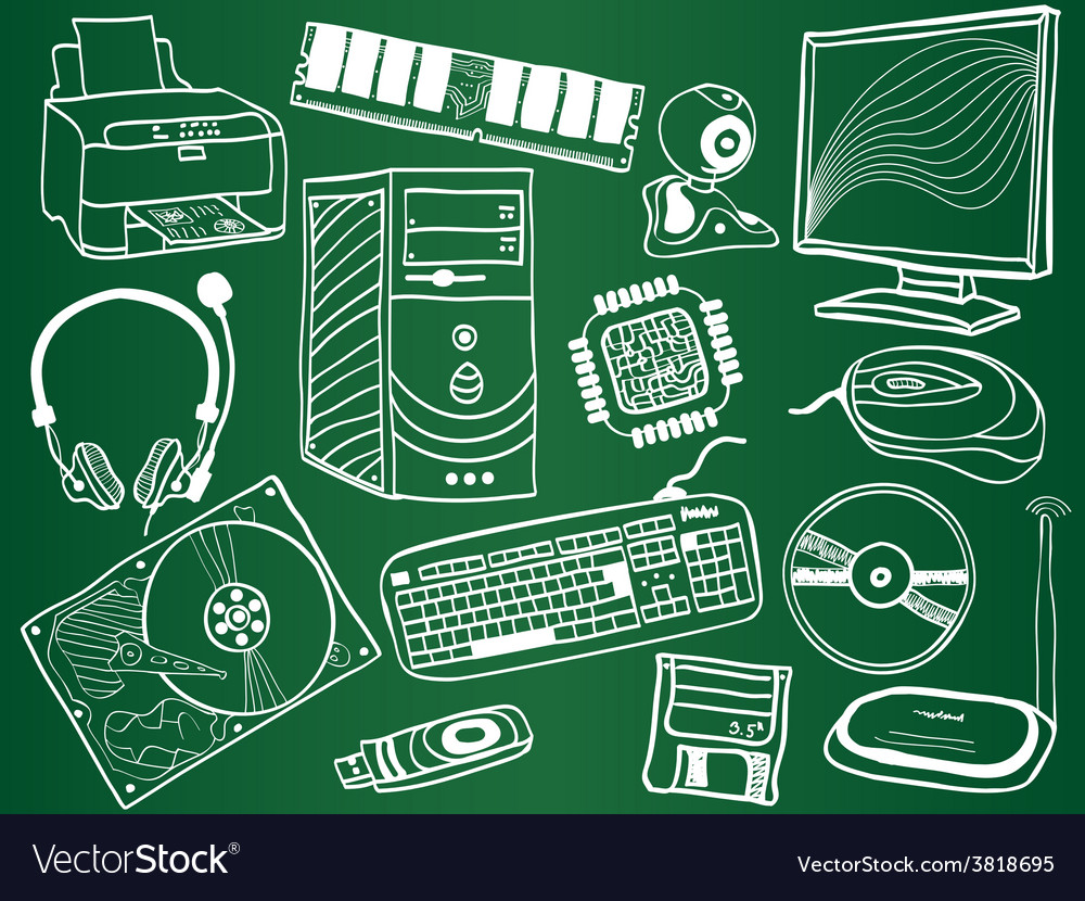 Pc components and peripheral devices sketches vector | Price: 1 Credit (USD $1)