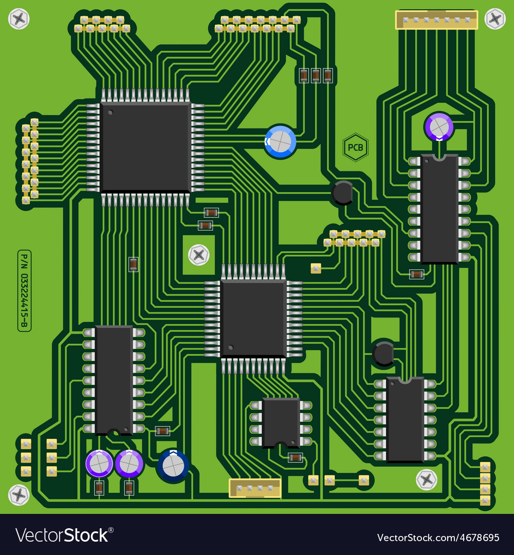 Printed circuit board with components vector   Price: 1 Credit (USD $1)