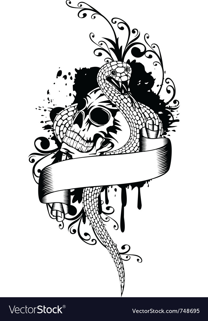 Skull and snake vector | Price:  Credit (USD $)