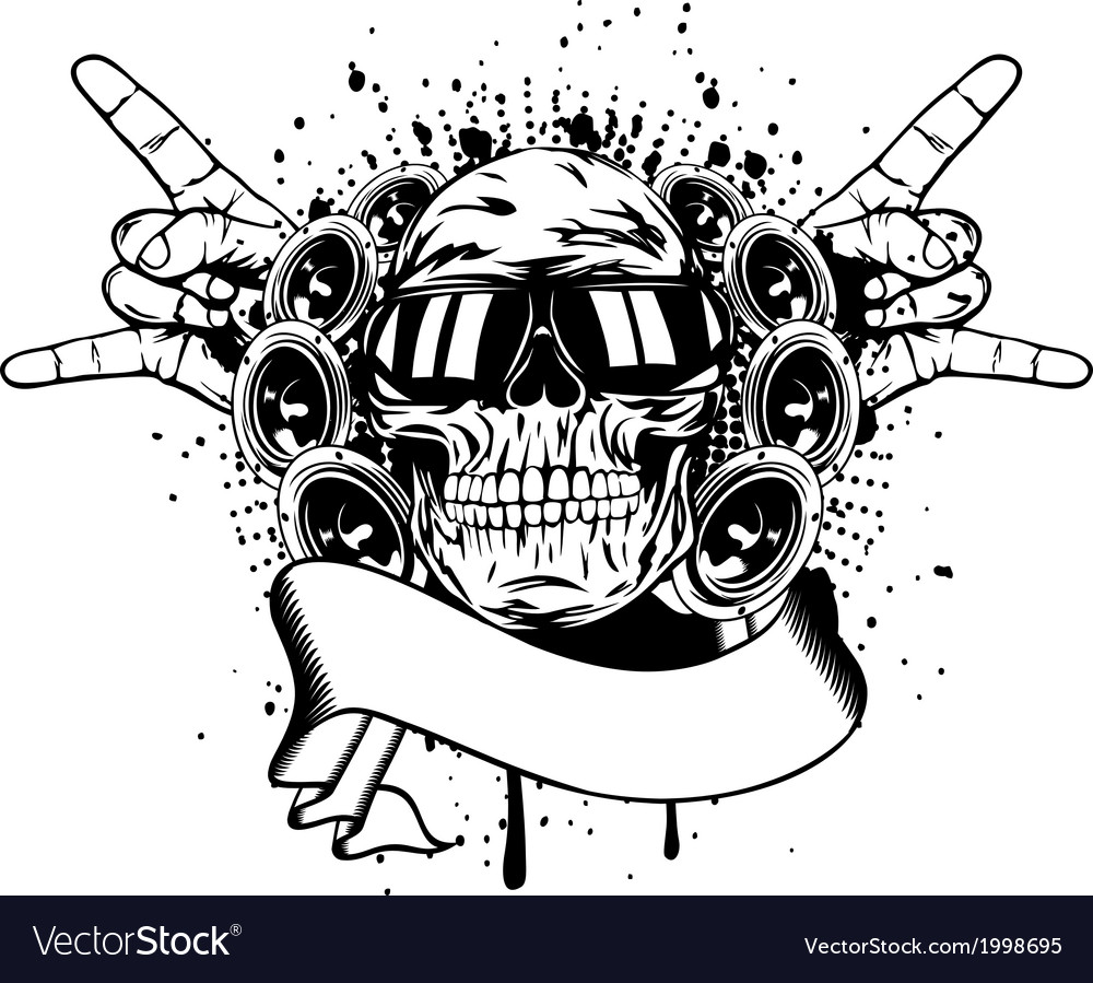 Skull in sunglasses and hand gesture rock vector | Price: 1 Credit (USD $1)
