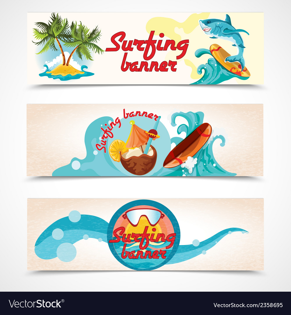 Surfing banners set vector | Price: 3 Credit (USD $3)