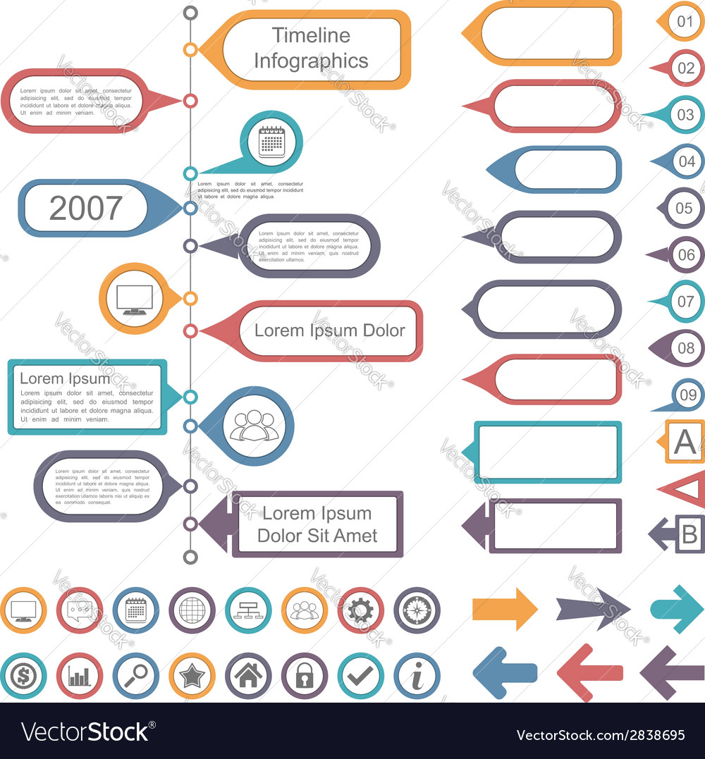 Timeline infographics elements vector