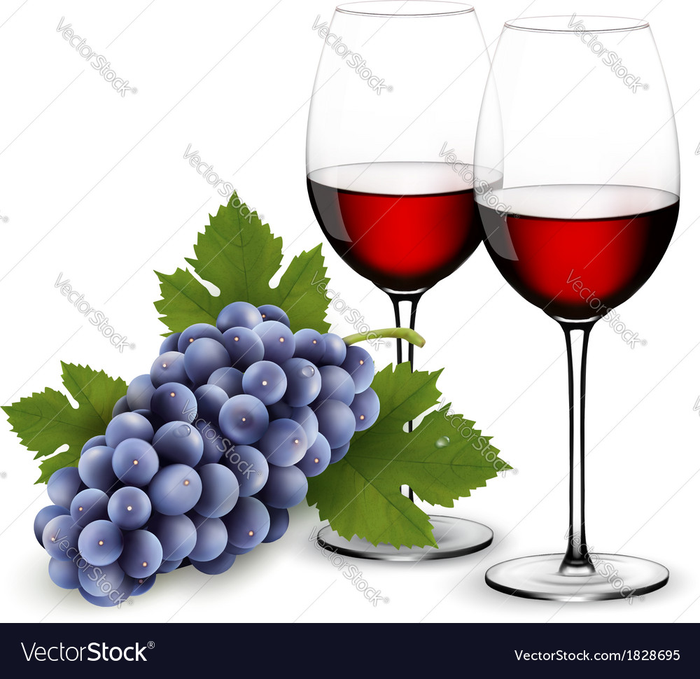 Two glasses of red wine with grapes vector | Price: 3 Credit (USD $3)