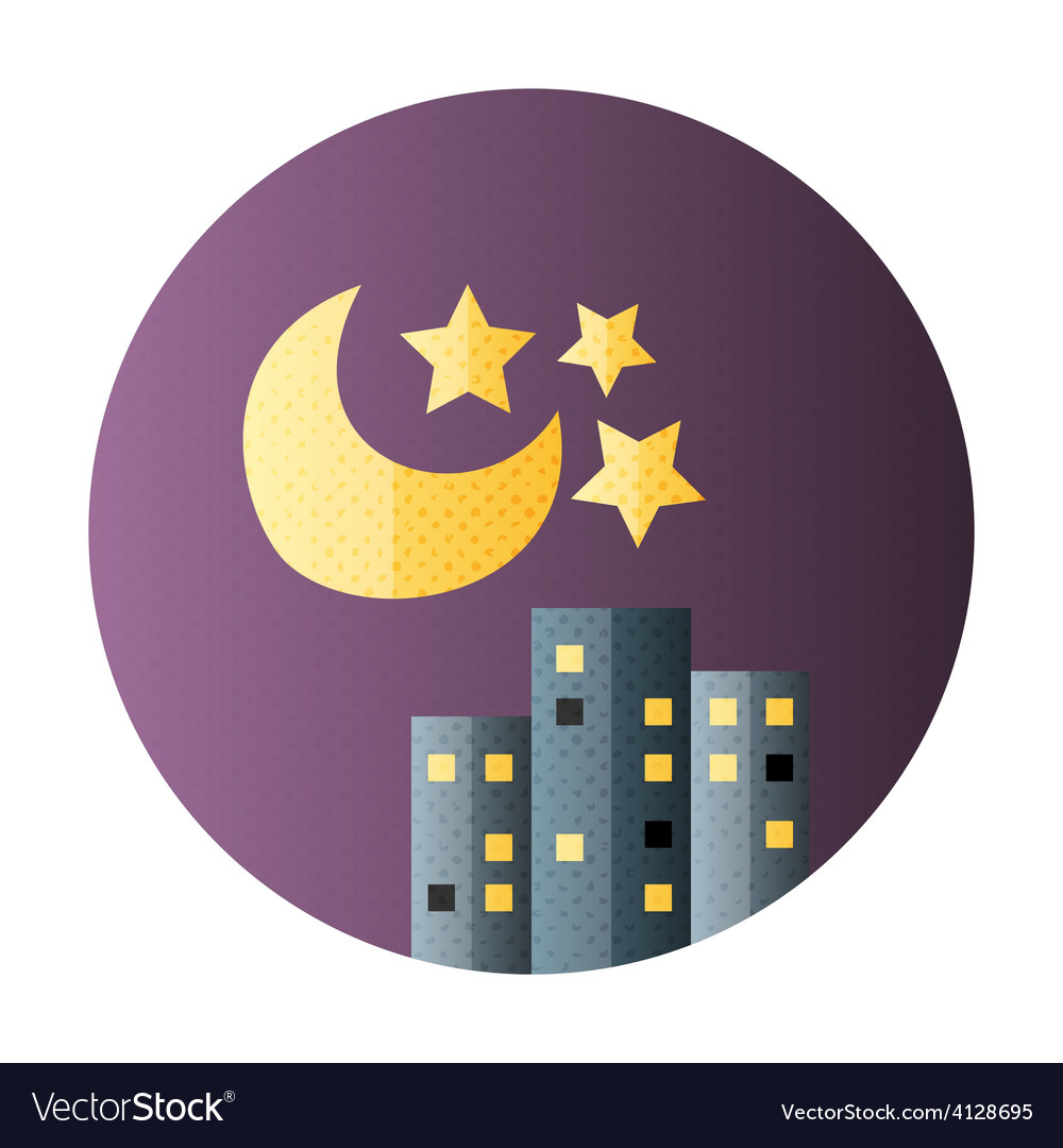 Urban city night life flat circle icon vector | Price: 1 Credit (USD $1)