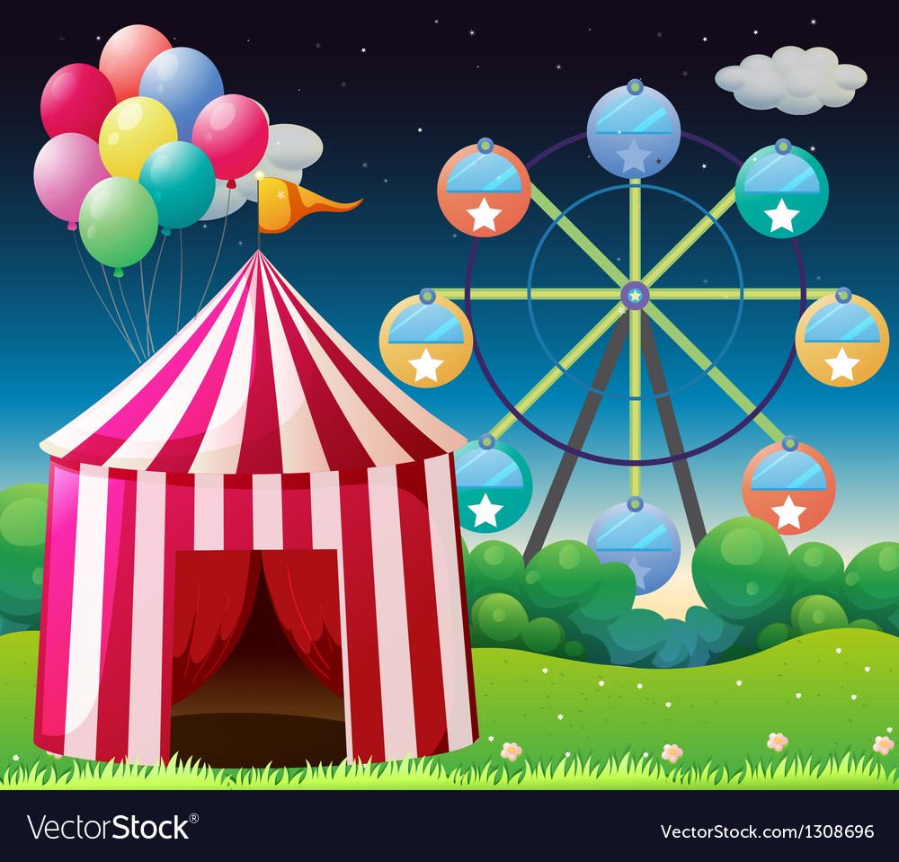 A red circus tent with balloons vector | Price: 1 Credit (USD $1)