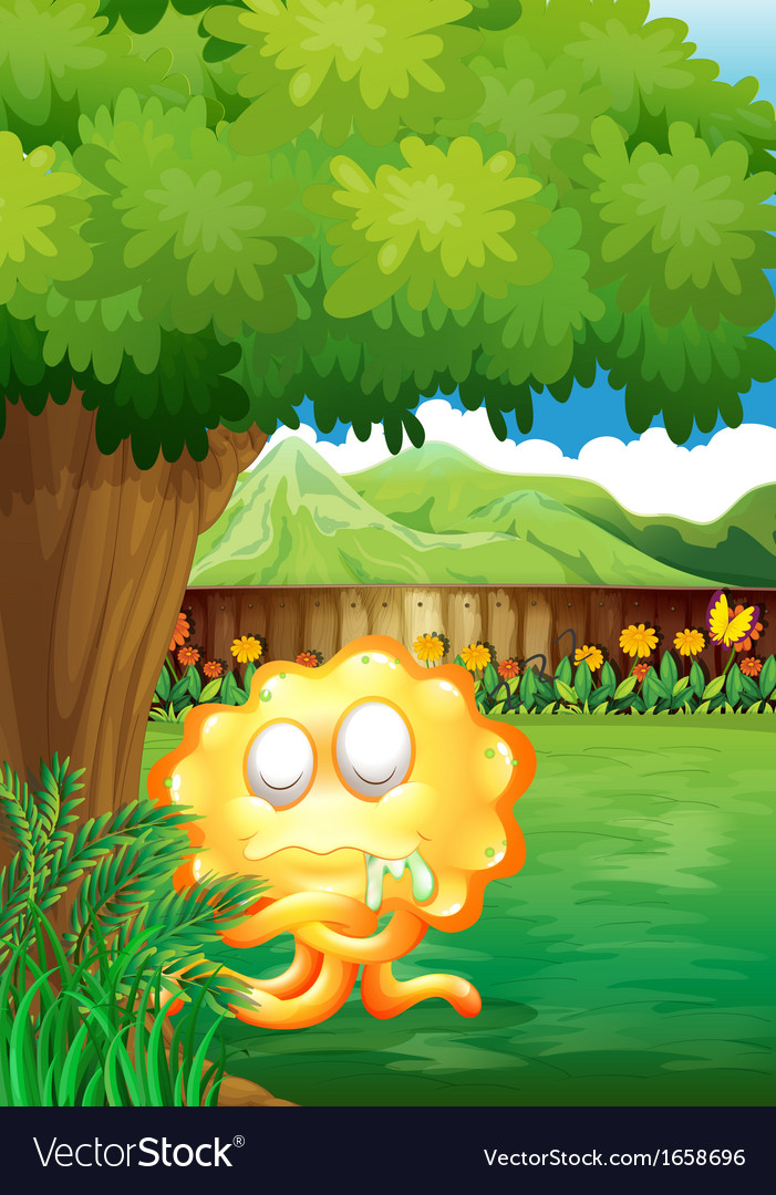 A yellow monster under the tree in the gated yard vector | Price: 3 Credit (USD $3)
