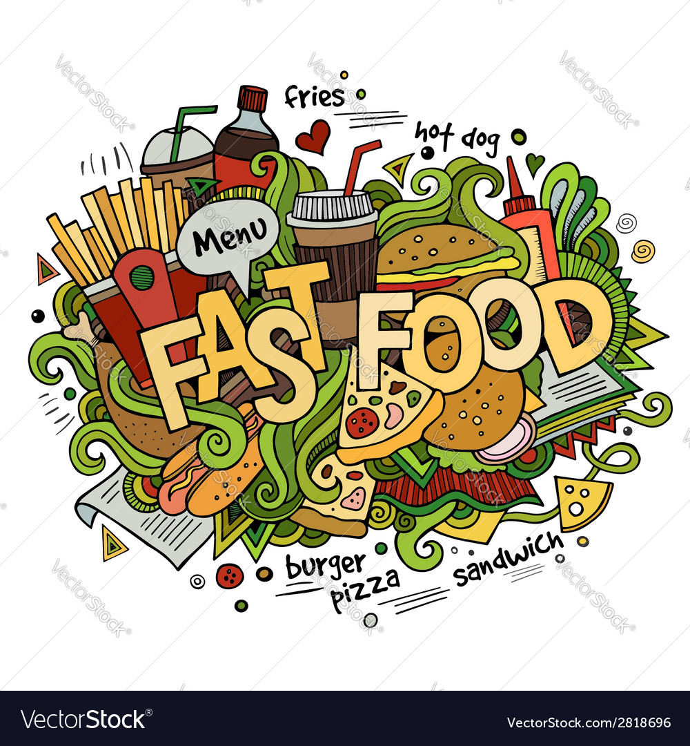 Fast food hand lettering and doodles elements vector | Price: 1 Credit (USD $1)