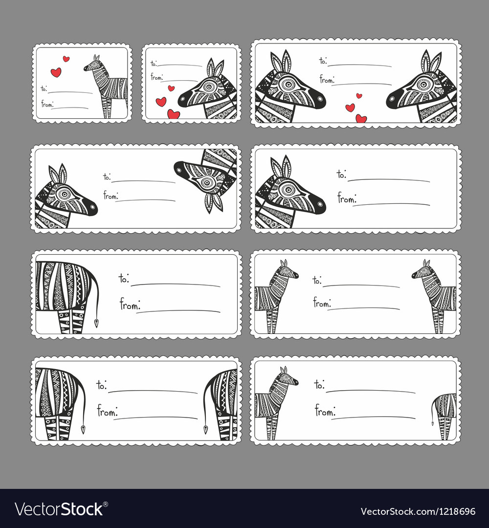 Gift tags with zebras vector | Price: 3 Credit (USD $3)