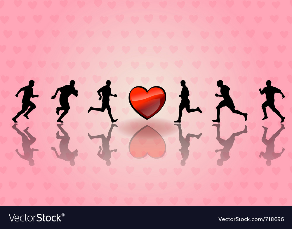 Heart and runners on the background vector | Price: 1 Credit (USD $1)