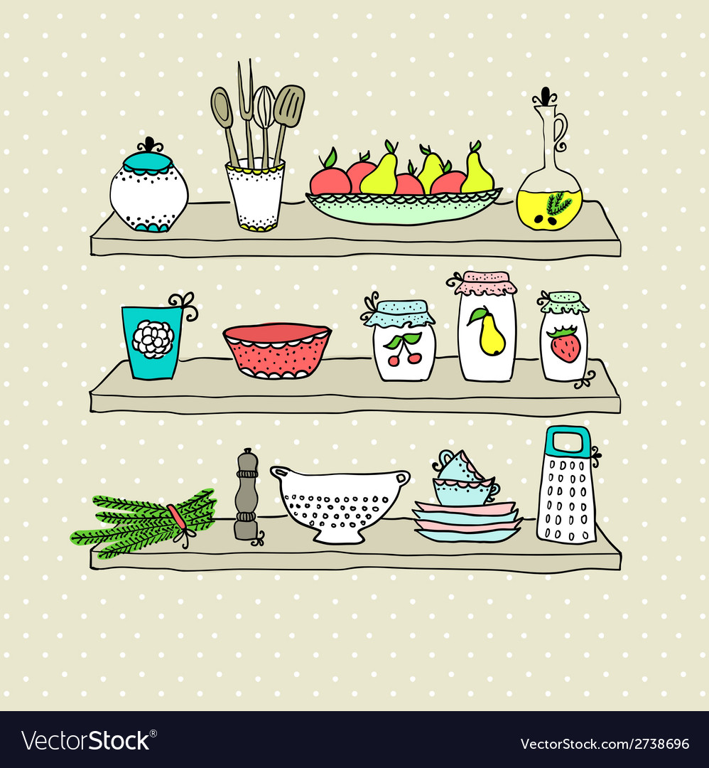 Kitchen utensils on shelves sketch drawing vector | Price: 1 Credit (USD $1)