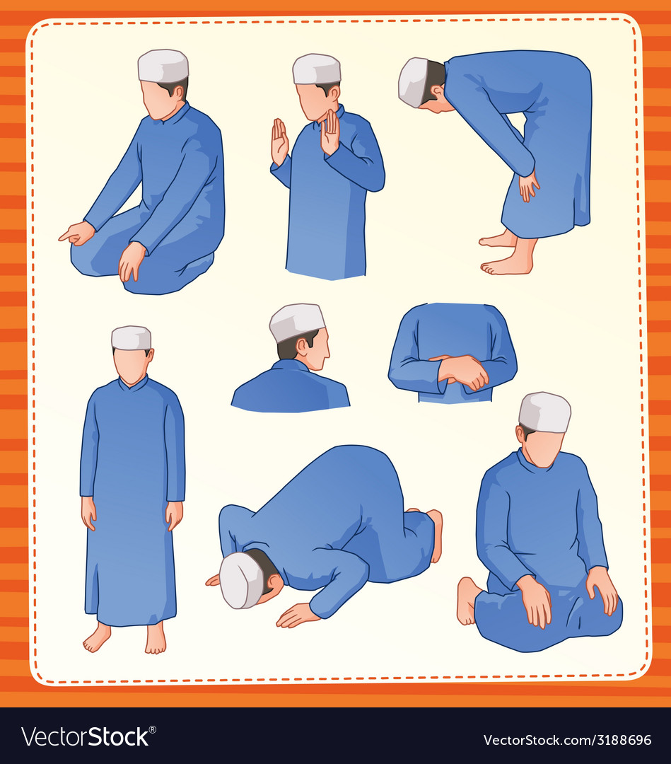 Moslem praying position vector | Price: 1 Credit (USD $1)