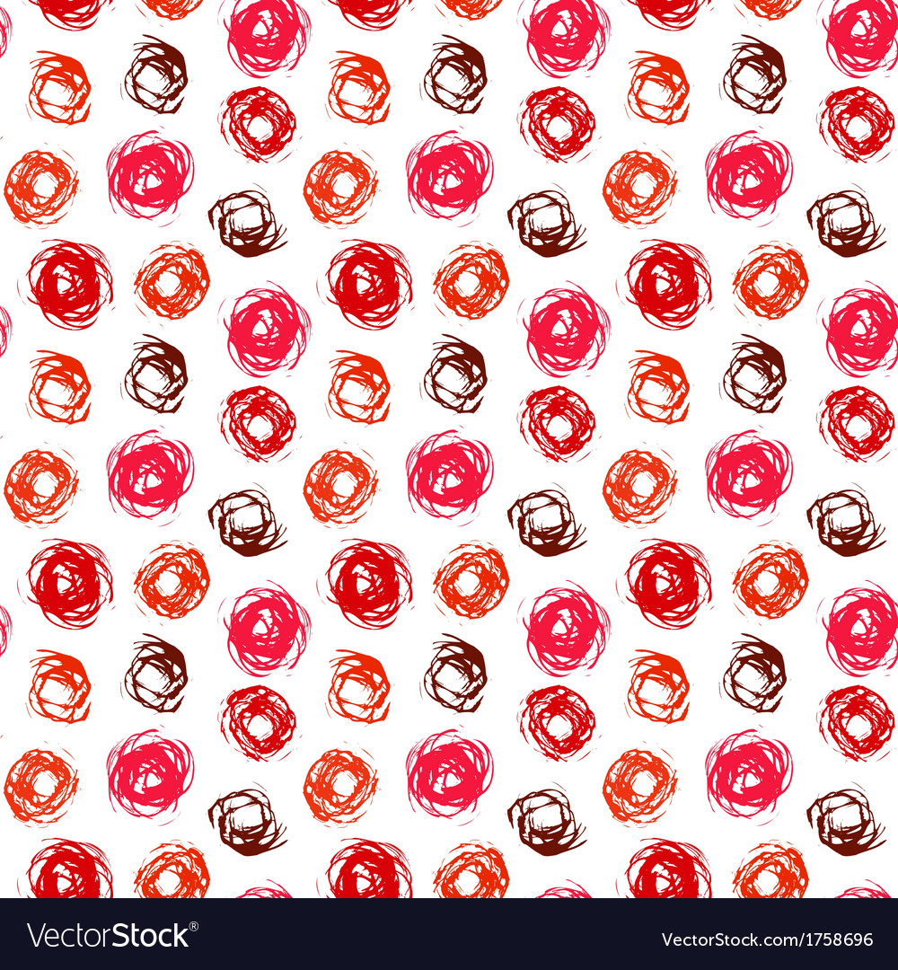 Pattern with brushed circles in coral red vector | Price: 1 Credit (USD $1)