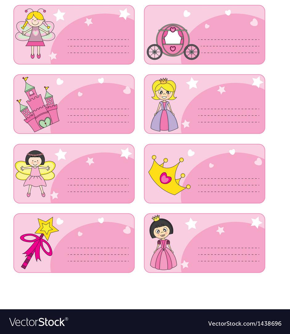 Princess labels vector | Price: 1 Credit (USD $1)